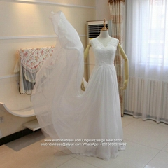 High Quality A Line Soft Chiffon And Lace Beach Wedding Dress With Train G237