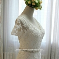 New A Line Heavy Beaded Lace V Neck Wedding Dress Short Sleeved G250