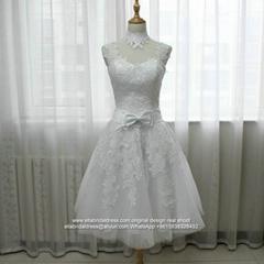 High Neck Short Knee Length White Lace Wedding Dress G239