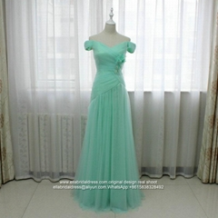 Light Green Off Shoulder A Line Prom Dress Floor Length E201