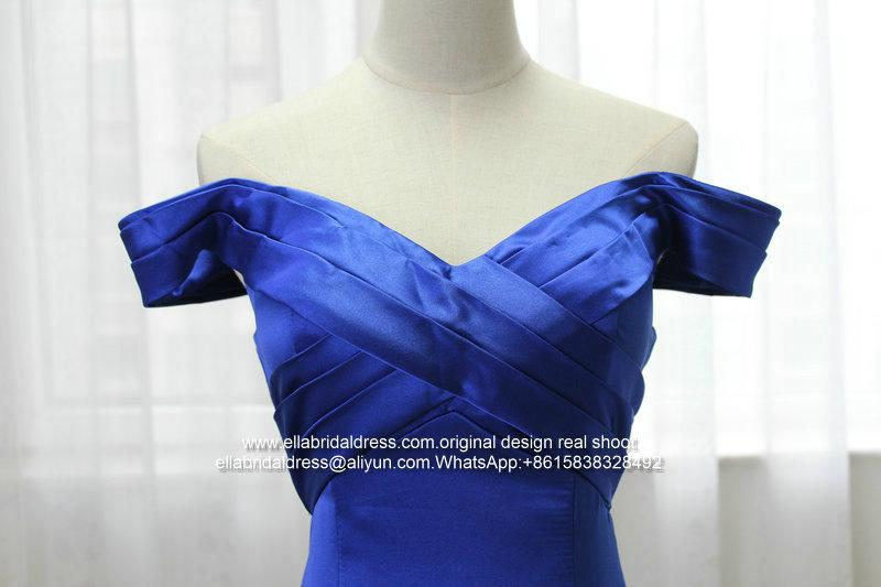 Off Shoulder Mermaid Royal Blue Satin Prom Dress With Train E199 2