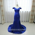 Off Shoulder Mermaid Royal Blue Satin Prom Dress With Train E199 1