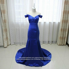 Off Shoulder Mermaid Royal Blue Satin Prom Dress With Train E199