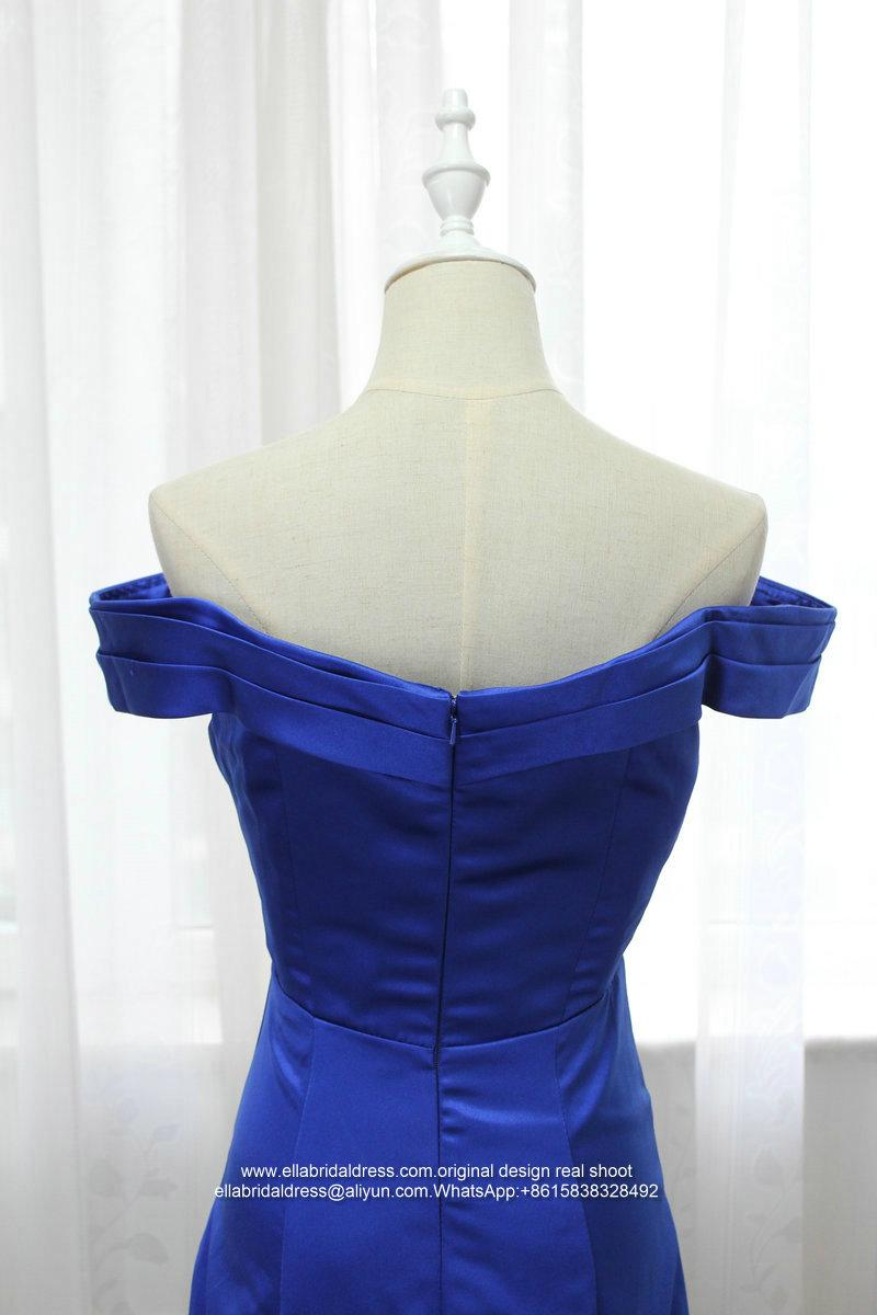 Off Shoulder Mermaid Royal Blue Satin Prom Dress With Train E199 4