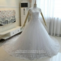 Luxury High Neck Crystal Beaded Ball Gown Lace Bridal Gown G219