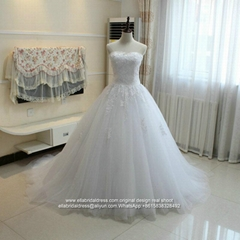 New Strapless Lace Tulle Ball Gown Wedding Dress With Train G220
