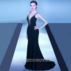 V Neck See Through Back Mermaid Evening Dress E187