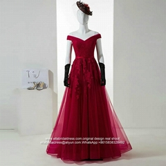 New Off Shoulder A Line Red Appliqued Prom Dress Lace Up E189