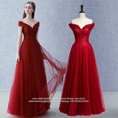 Beaded Off Shoulder A Line Wine Red Soft Tulle Prom Dress Party Dress E191