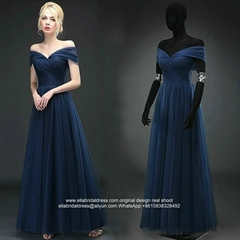Off Shouldr Navy Blue Floor Length Soft Tulle Formal Prom Dress E192
