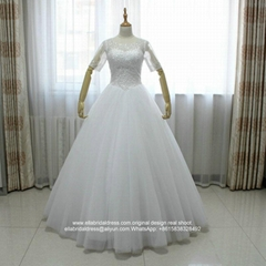 Heavy Beading Floor Length Tulle Satin Half Sleeved Wedding Dress G252