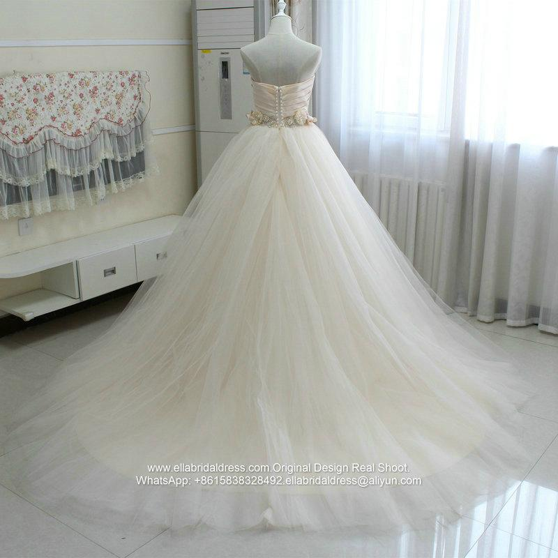 Champagne  Sweetheart Ball Gown Wedding Dresses With Train G258 5