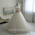 Champagne  Sweetheart Ball Gown Wedding Dresses With Train G258