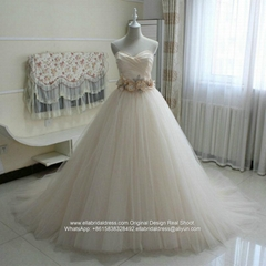 Champagne  Sweetheart Ball Gown Wedding Dresses With Train G258 (Hot Product - 2*)