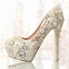 New High Heel Crystal Bridal Wedding Shoes Party Shoes S02