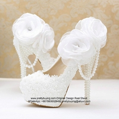 New Popular Lace Pearl High Heel Bridal Shoes Party Shoes S06