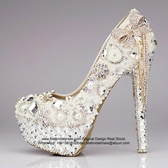 High Quality Crystal New Ivory Bridal Shoes Wedding Shoes S07