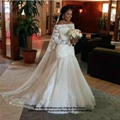 Off Shoulder Fulle Sleeved Mermaid Satin Lace Bridal Gown HS1705