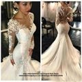 Sexy Full Sleeved Mermaid Bridal Dress With Train HS1706