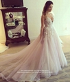 Top Quality V Neck A Line Lace Wedding Dress With Train HS1708