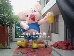充气卡通气模卡通猪/红裙猪/卡通牛/米老鼠/手机卡通