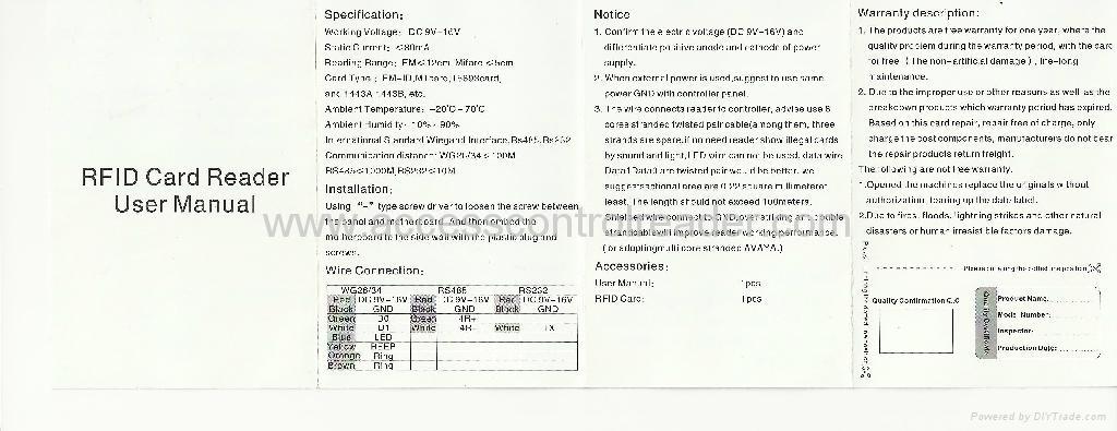EM or MF Access Control  Reader  D201A 12