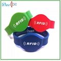 TK4100 , S50,S70 ,65mm or 74MM or RFID Silicon wristband tag keychain