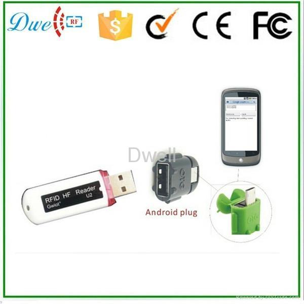 125khz or 13.56mhz U disk Android RFID Reader 1