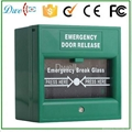 Emergency break glass exit button push