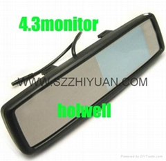 """4.3"""" Color LCD Car Monitor rearview mirror for camera"""