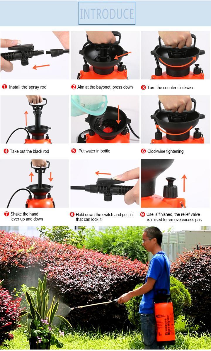 5L/8L Garden Hand Manual Power Pressure Pump Sprayer  7