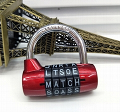 Top Security 5 Letters Gym Combination Padlock 5 Letters Combination Padlock
