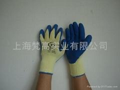 10针黄色浸乳胶耐磨.防刺穿手套