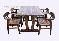 實木餐桌椅.火燒木餐桌椅