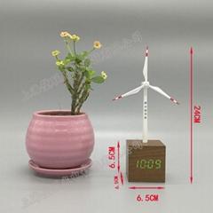 制作太阳能商务宣传赠品 办公桌面摆饰工艺品太阳能钟