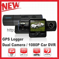 X6000 Dual Lens Car DVR Camera W/ G-Sensor, GPS Logger, Auto IR Night Vision