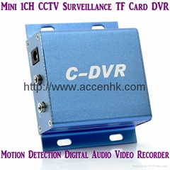 Mini C-DVR 1CH Digital Audio Video Recorder TF Card DVR Motion Detection Metal