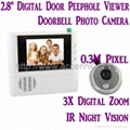 "2.8"" LCD Door Peephole Viewer 3X Zoom Doorbell Photo Camera W/ IR Night Vision 1"