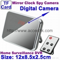 Digital Mirror Clock Spy Camera Motion Detection Surveillance DVR Remote Control
