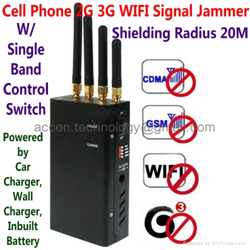 Cell Phone Jammer >> 4 Antenna Portable Cell Phone 3G WIFI Signal Jammer Blocker W/