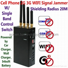 4 Antenna Portable Cell Phone 3G WIFI Signal Jammer Blocker W/ Separate Switch