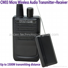 CW03 Micro Wireless Audio Transmitter+Receiver Bug 500M Remote Sound Monitor