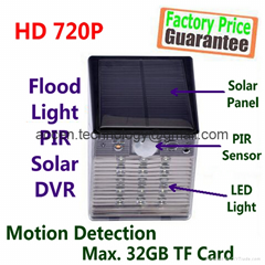 Solar Power Flood Light 720P PIR DVR Camera W/ Motion Detection & Night Vision
