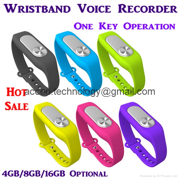 4/8/16GB Wearable Wristband Digital Voice Recorder Dictaphone one-key WAV128Kbps