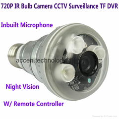 720P IR LED Array Bulb Camcorder CCTV Surveillance DVR Camera W/ Remote Control