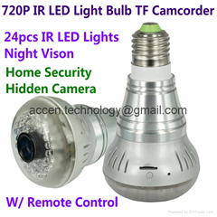 HD 720P E27 24pcs LED Light IR Bulb Lamp Camcorder SPY H.264 CCTV Security DVR