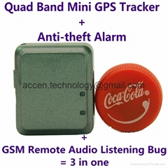 Mini GPS Tracker+Anti-theft Alarm+Spy GSM Audio Bug W/ Website/APP/SMS Tracking