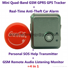 Mini GPS Tracker V8S+Anti-Burglar Alarm+Personal SOS Transmitter+GSM Audio Bug