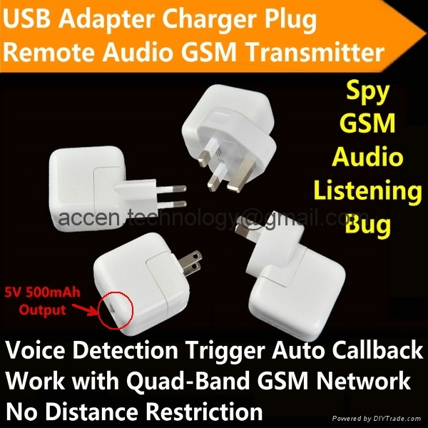 ac adapter charger plug gsm audio listening spy bug