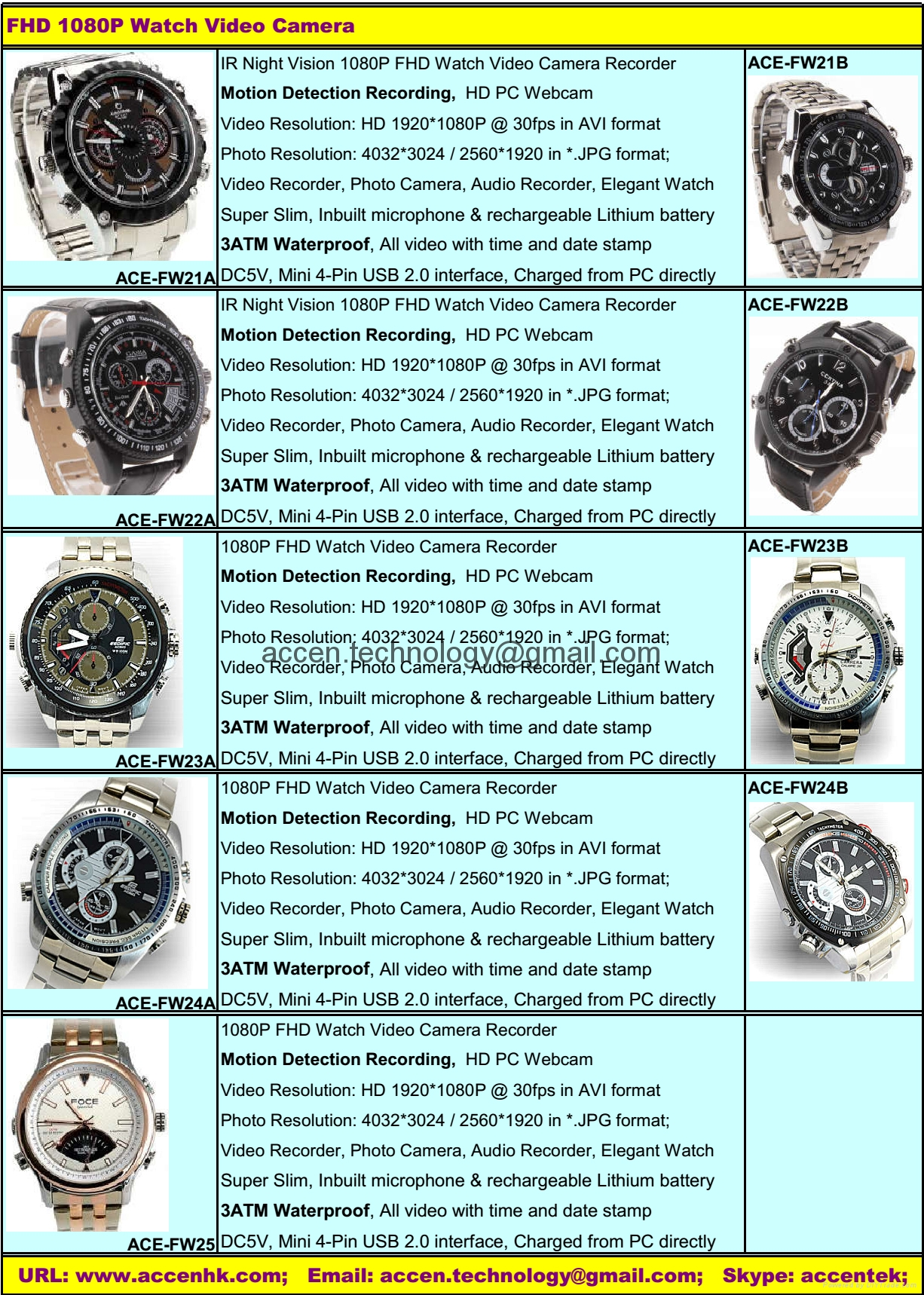 8GB/16GB 1080P FHD Spy Waterproof Water-Resistant Wrist Watch Video Camera Recorder Catalog